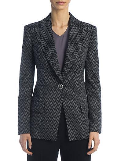 Giorgio Armani Patterned One-button Blazer In Blue Jacquard