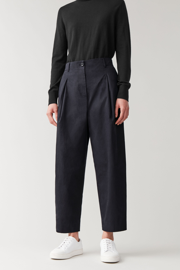 Cos Rounded Cotton Trousers In Blue