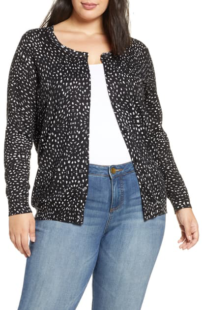 Daniel Rainn Plus Dot Print Button Front Cardigan In F726 Black