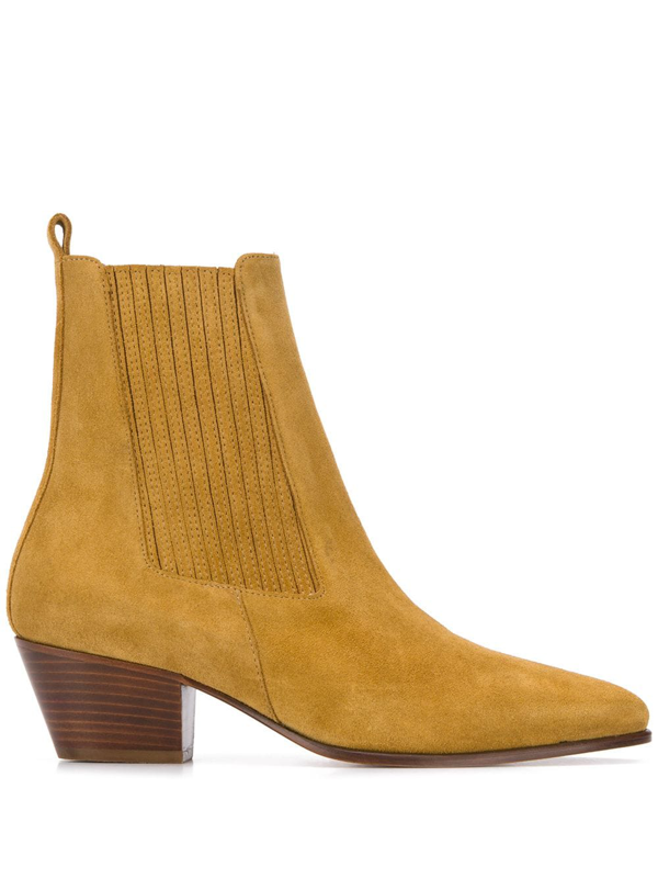Sandro Almond-toe Suede Ankle Boots In Ambre