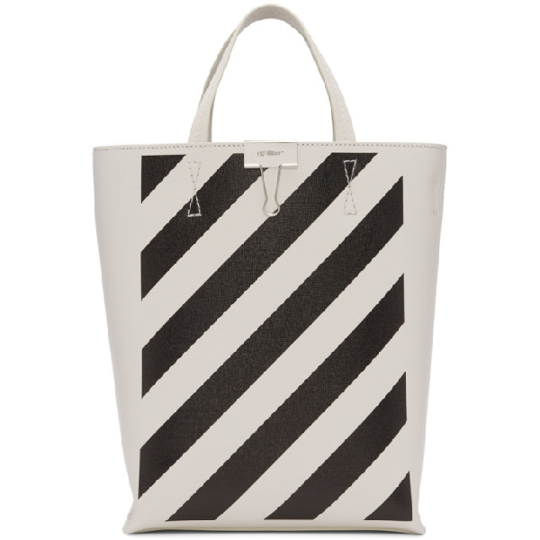 Off-white Diag White Leather Top Handle Bag In White/black