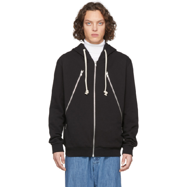 Maison Margiela Loopback Organic Cotton-jersey Zip-up Hoodie In 900 Black