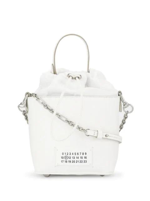 Maison Margiela 5ac Mini Grained Leather Bucket Bag In White