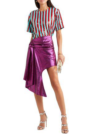 Halpern Asymmetric Sequined Tulle Mini Skirt In Violet