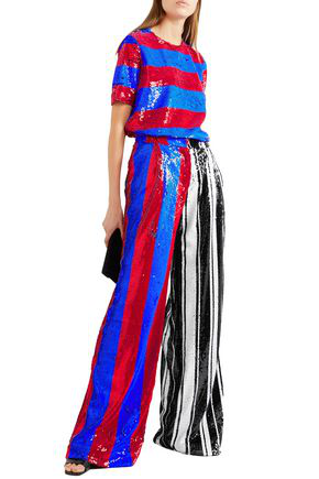 Halpern Striped Sequined Tulle Wide-leg Pants In Multicolor