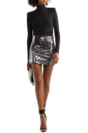 Halpern Zebra-print Sequined Satin Mini Skirt In Animal Print