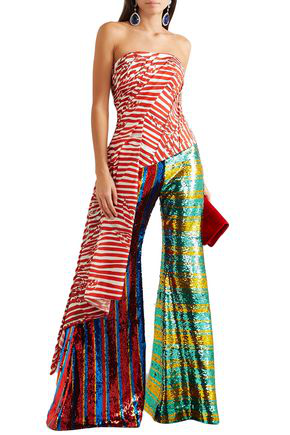 Halpern Asymmetric Strapless Draped Striped Faille Top In Red