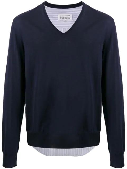 Maison Margiela Shirt-panel V-neck Jumper In 511 Navy