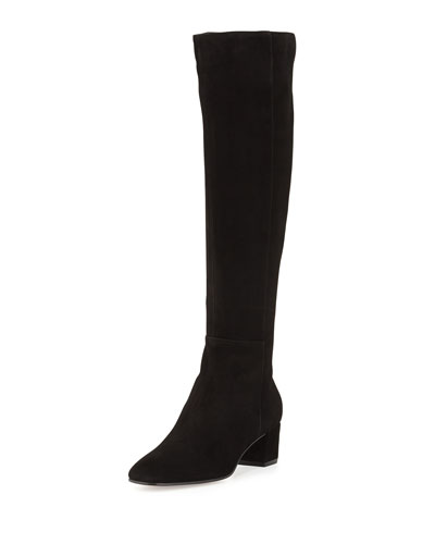Gianvito Rossi Felder Flat Cuissard Flat Stretch-Suede Over-The-Knee Boot In Lead