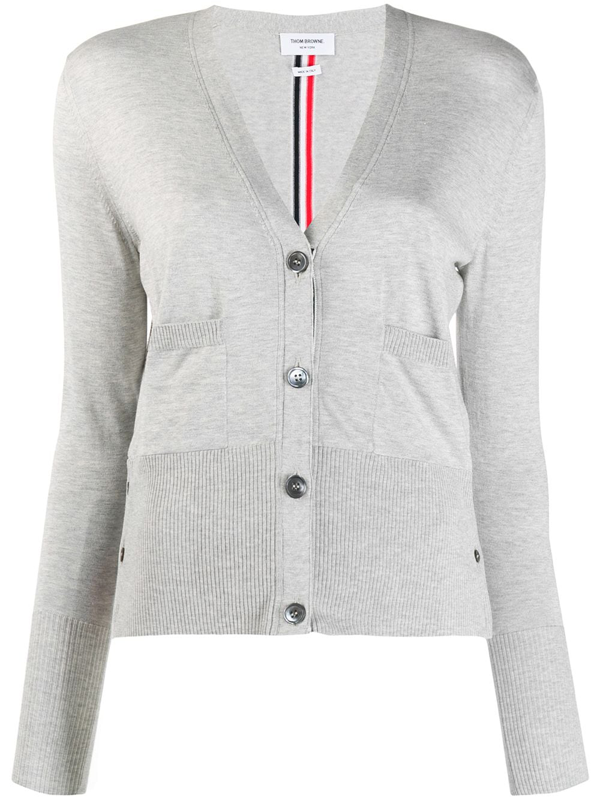 Thom Browne Cotton And Silk Cardigan In Grey