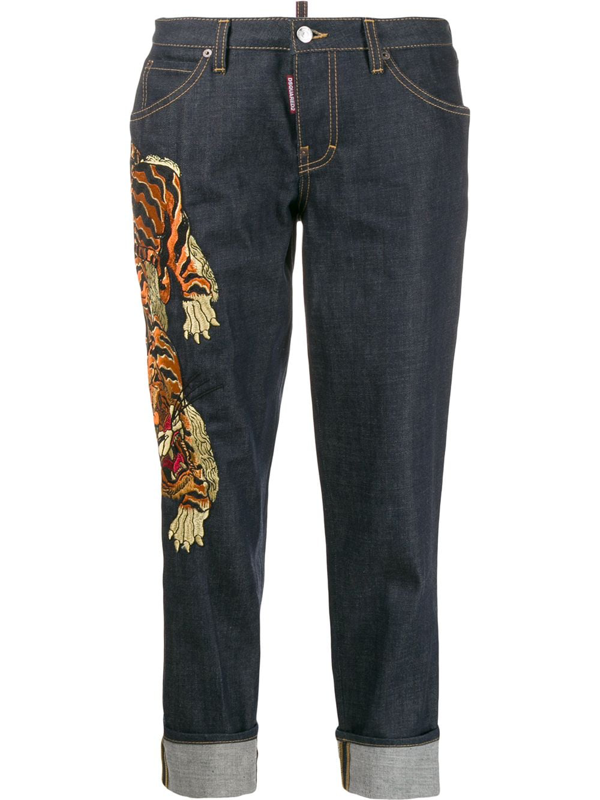 Dsquared2 Hockney Denim Jeans W/tiger Patch In Blue