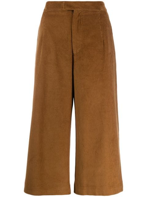 Jejia Cropped Palazzo Trousers In Brown