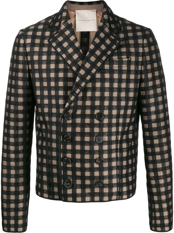 Marco De Vincenzo Checked Double-breasted Blazer In Black