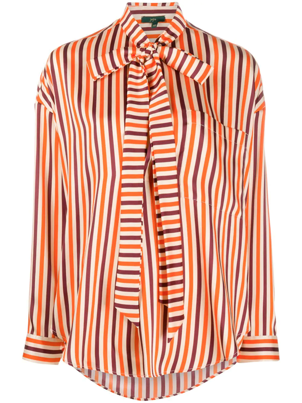 Jejia Striped Pussy-bow Blouse In Neutrals