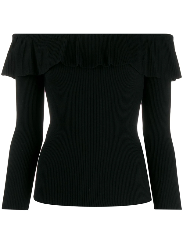 Red Valentino Redvalentino Off The Shoulder Ribbed Top In Black