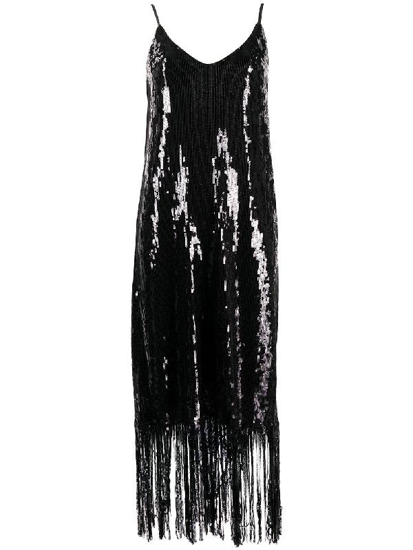 In The Mood For Love Doris Fringed Sequin Dress In Black