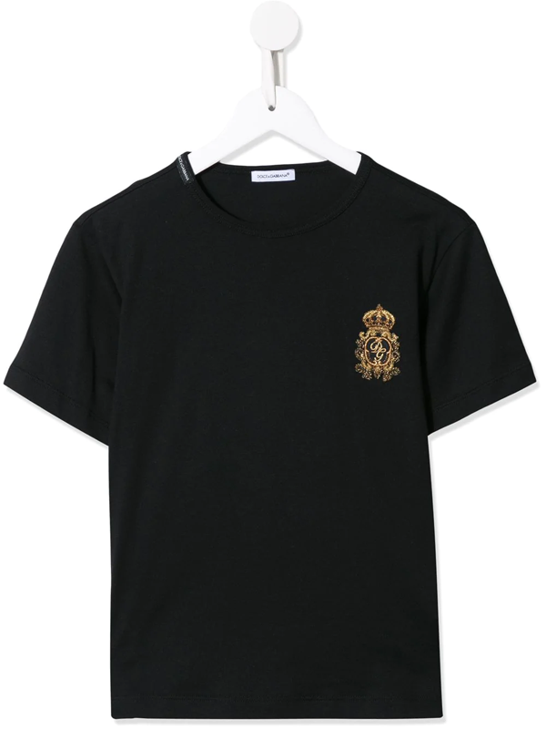 Dolce & Gabbana Kids' Dolce & Gabbana Crown Cotton T-shirt In Black