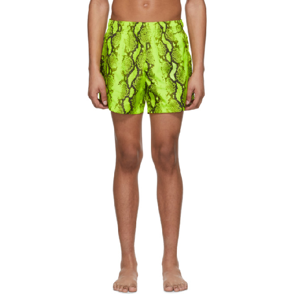 Off-white Printed Snake Tech Swim Shorts In Yellow