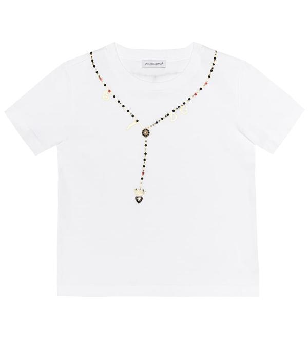 Dolce & Gabbana Kids' Embellished Cotton T-shirt In White