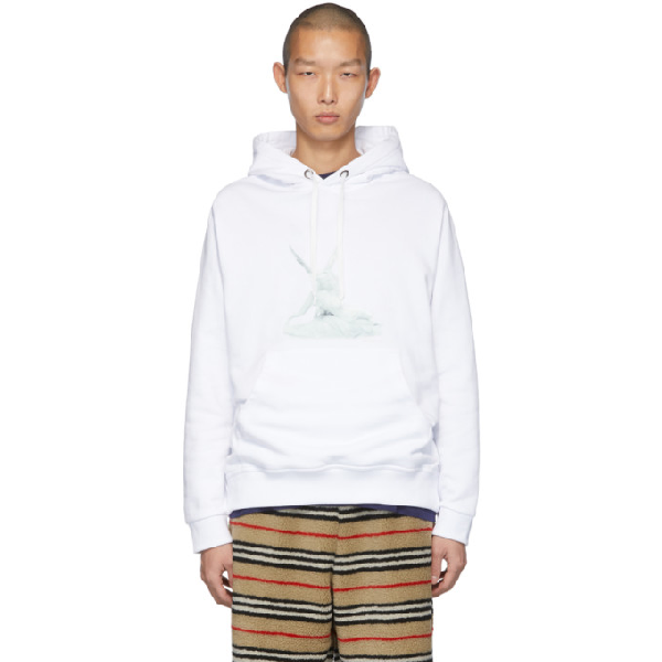 Burberry Rubberized Print Cotton Jersey Hoodie In White