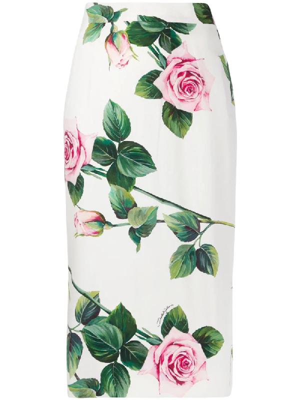 Dolce & Gabbana Printed Cady Stretch Pencil Midi Skirt In White