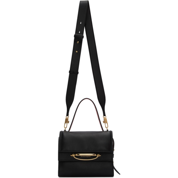 Alexander Mcqueen The Story Bicolor Leather Shoulder Bag In 1050 Blk/rd