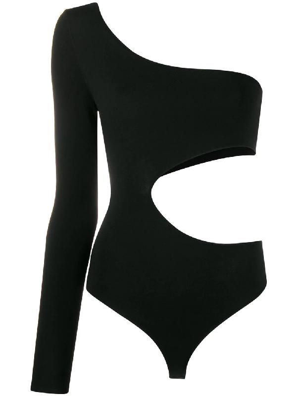 Tom Ford Stretch Viscose One Shoulder Bodysuit In Black