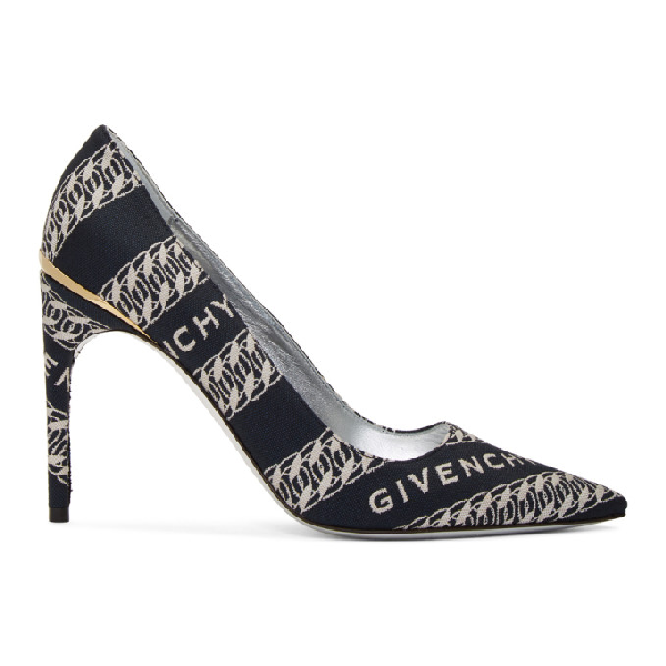 Givenchy Canvas Pointed Toe M-pump In Navy/white