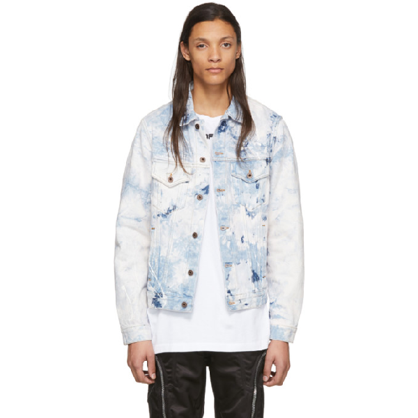 Off-white Arrow Slim Cotton Denim Jean Jacket In Extreme Ble