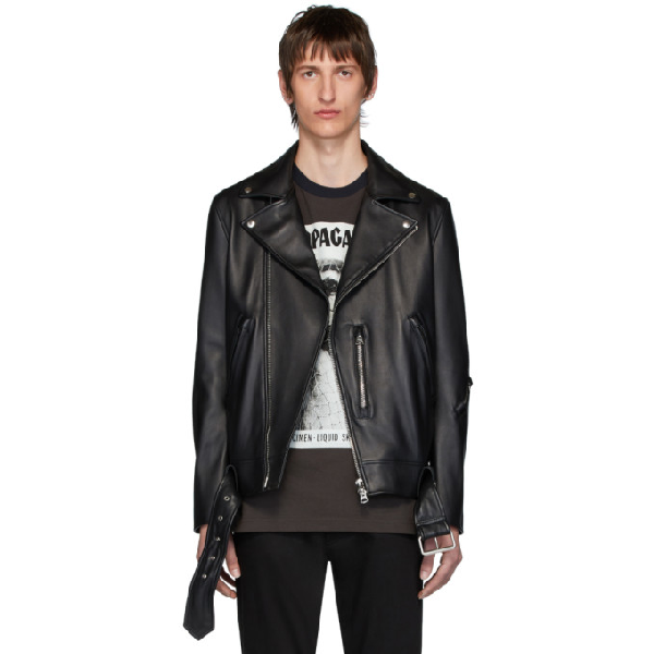 Acne Studios Nate Clean Lamb Leather Moto Jacket In Black