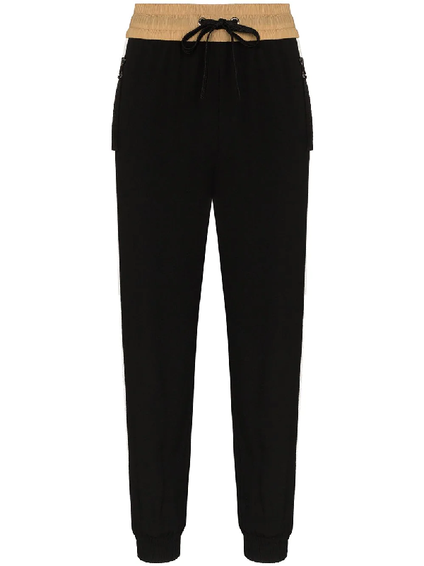 Moncler Black Crepe Trousers With Side Bands
