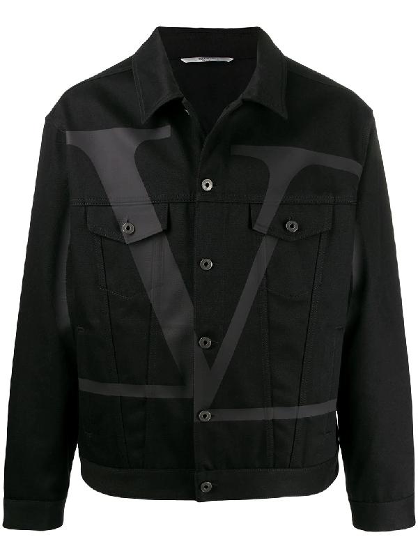 Valentino Oversized Vlogo Denim Jacket In Black