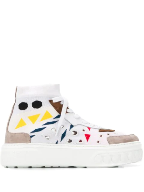 Casadei Abstract Print Sock Sneakers In White