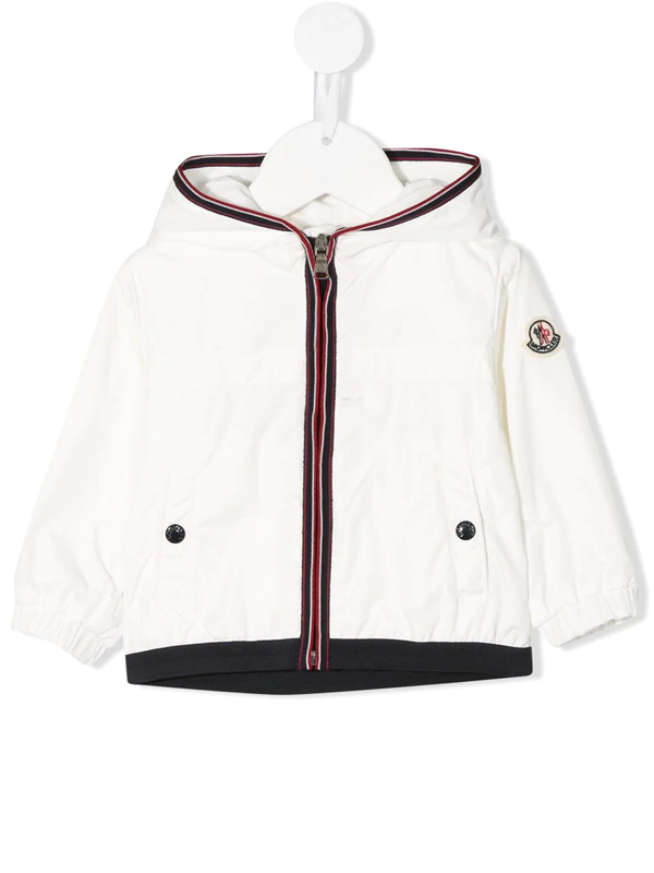 Moncler Babies' Anton Stripe Detail Logo Patch Jacket In White