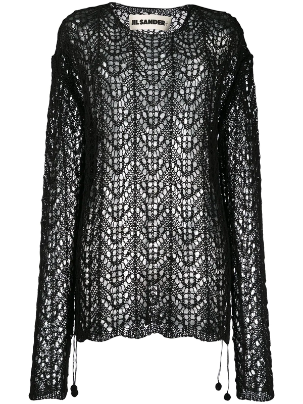 Jil Sander Black Crochet Sweater