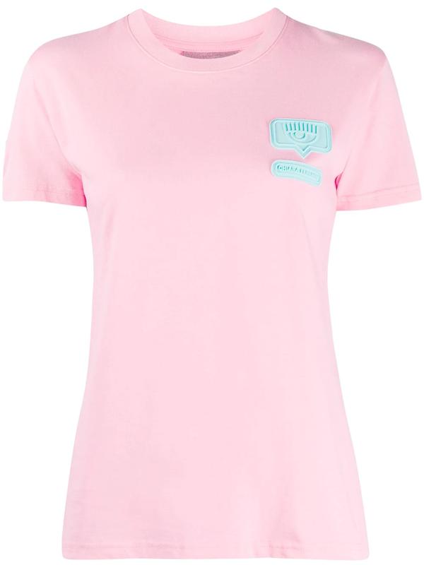 Chiara Ferragni Logo Patch Detail Round Neck T-shirt In Pink