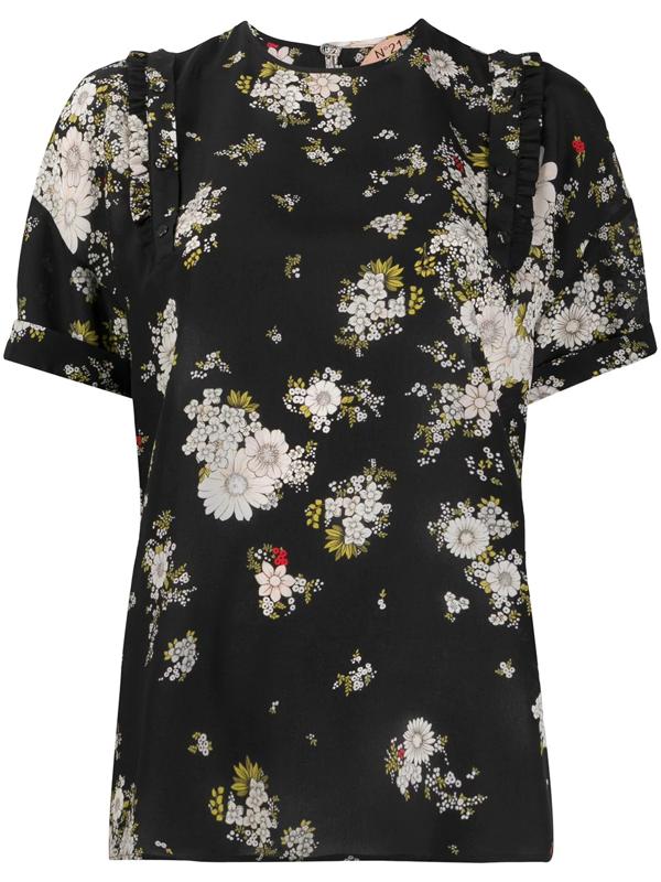 N°21 Silk Floral Print Blouse In Black