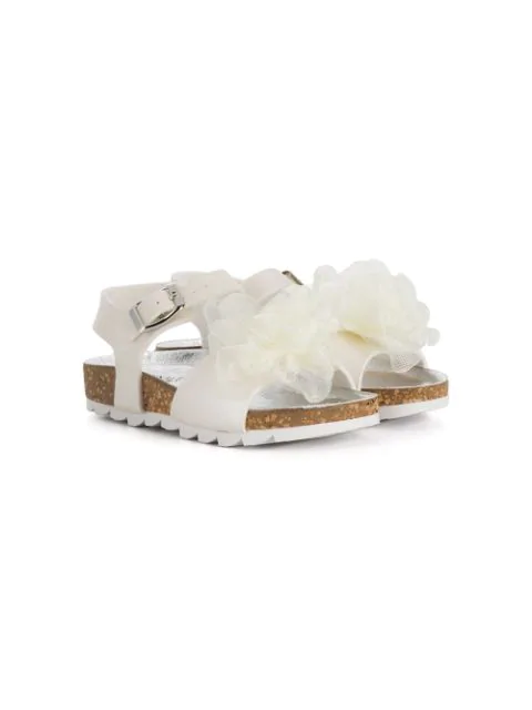 Monnalisa Kids' Floral Embroidered Sandals In White