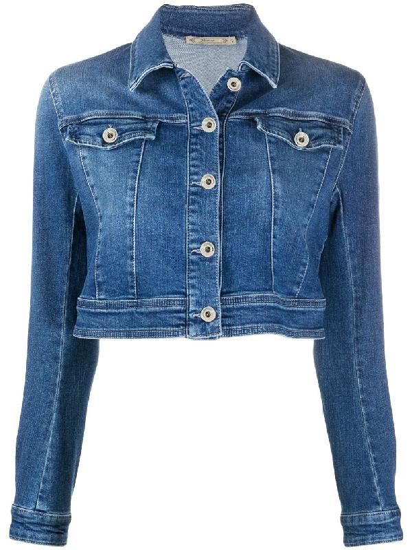 Patrizia Pepe Cropped Denim Jacket In Blue