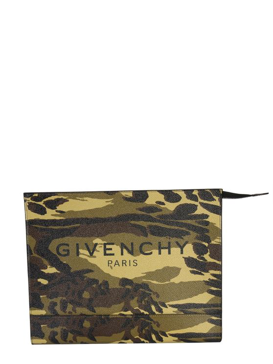 Givenchy Medium Camouflage Printed Coated Canvas Clutch In Multi