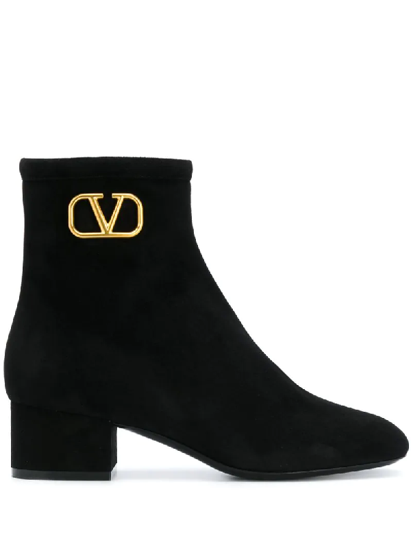 Valentino Garavani Garavani Suede Vintage V Boots 45 In Black
