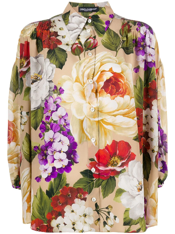 Dolce & Gabbana Floral Oversized Shirt In Silk In Neutrals