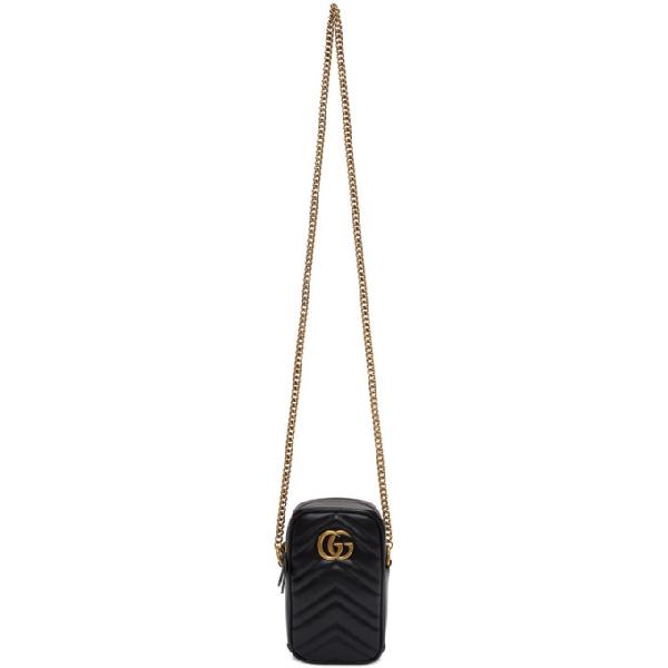 Gucci Gg Marmont Mini Leather Shoulder Bag In 1000 Black