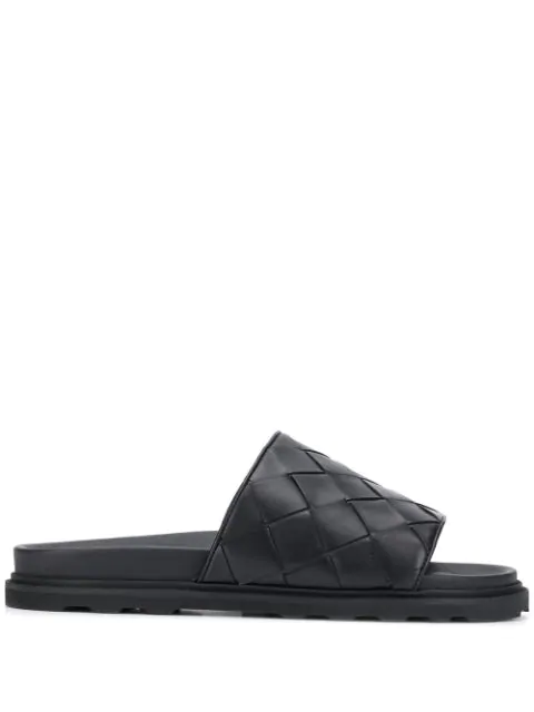 Bottega Veneta Intrecciato Speedster Leather Slide Sandals In Black