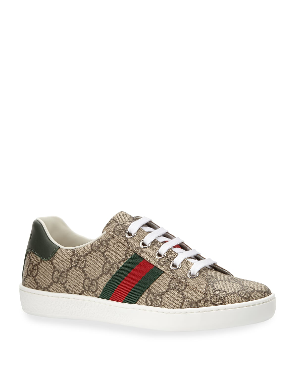 Gucci New Ace Gg Tennis Shoe, Kids In Beige