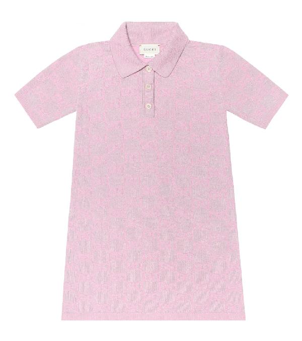 Gucci Kids' Metallic Logo Wool Blend Polo Dress In Pink