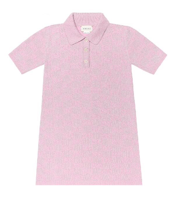 Gucci Kids' Girl's Metallic Gg Jacquard Short-sleeve Polo Dress In Pink