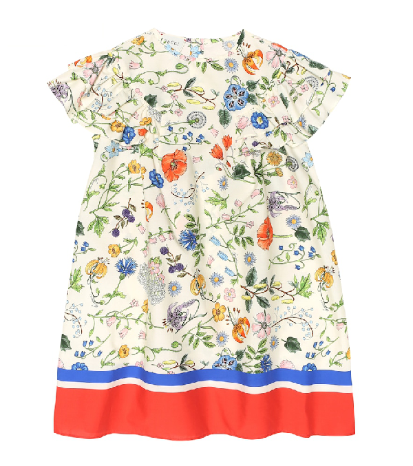 Gucci Kids' Flora Festival Printed Short-sleeve Poplin Dress In 白色