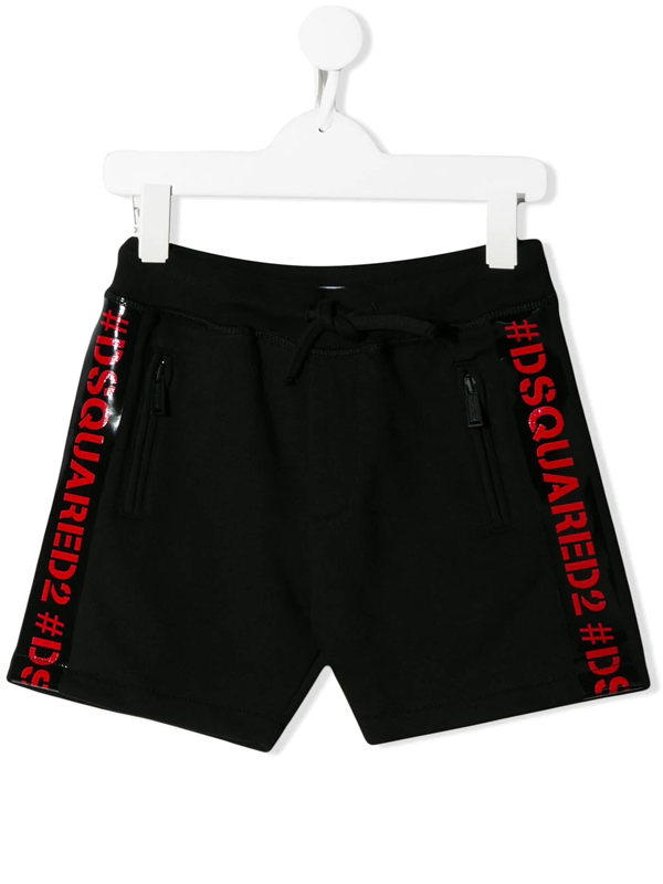 Dsquared2 Kids' Cotton Sweat Shorts W/ Logo Bands In Black