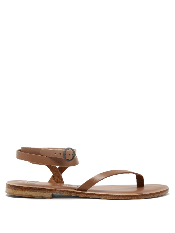 Álvaro González Arubina Wraparound Leather Sandals In Tan